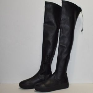 J/Slides Womens Ary Over the Knee Boot, Black Sz 5